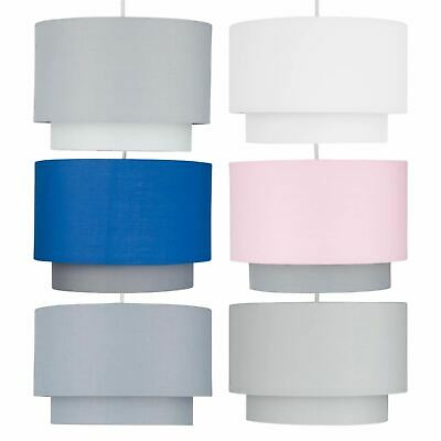 Easy Fit Ceiling Light Shade Pendants 2 Tier Design Cotton Fabric Light Shades • 13.99£