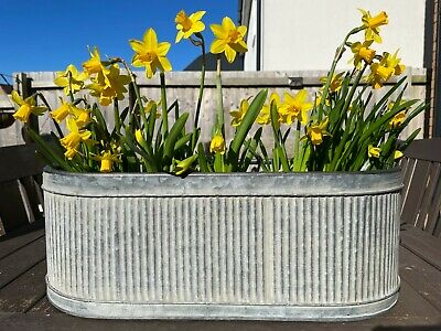 Set Or 1 Galvanised Zinc Ribbed Metal Pots Planters |Round Garden Flower Troughs • 39.99£