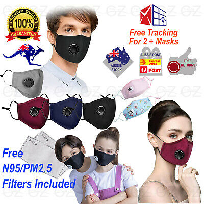 AU13.45 • Buy Washable Reusable Cotton Fabric Adult Face Mask Respirator & PM2.5 Filters