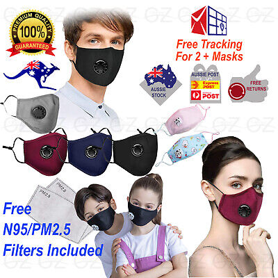AU13.45 • Buy Washable Reusable Cotton Fabric Kids Adult Face Mask Respirator & PM2.5 Filters