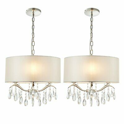Set Of 2 Crystal Glass Ceiling Chandelier Pendant Lights Ivory Shade • 59.99£