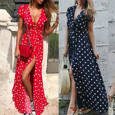 UK Womens Polka Dot Maxi Wrap Dress Ladies Summer Holiday V Neck Party Prom Gown • 10.95£
