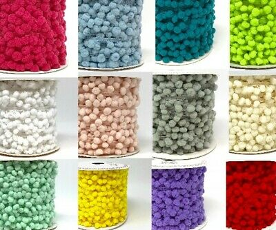 NEW! Bertie's Bows 10mm Pom Pom (8mm Bauble) - Per Metre Or By The 25m Roll • 25.99£