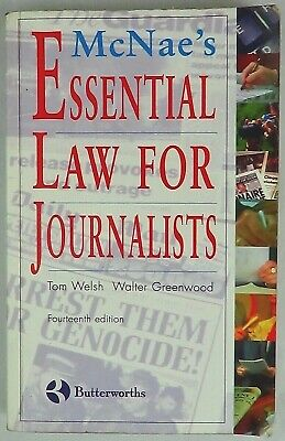 £4 • Buy Essential Law For Journalists By L.C.J. McNae, Pub: Lexisnexis, Paperback, 1997