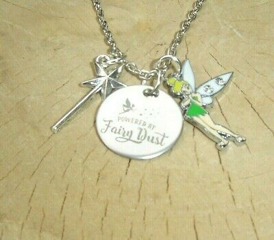 £3.99 • Buy Tinkerbell Powered By Fairy Dust Quote Charm Necklace In Gift Bag