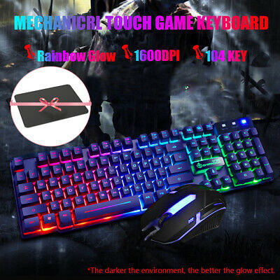 AU25.89 • Buy Gaming 1600 DPI Wired Keyboard And Mouse Set Illuminated LED USB PC Laptop U