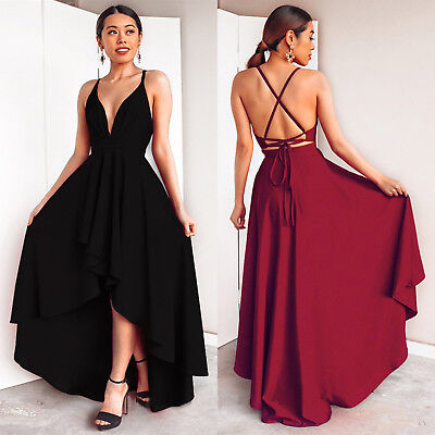 AU24.99 • Buy Women's Sexy Strappy V Neck Backless Maxi Dress Evening Party Gown Long Dresses