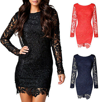 AU17.99 • Buy Womens Dress Lace Backless Bodycon Long Sleeve Mini Dress Evening Party Casual