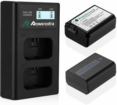 Powerextra 2Pack NP-FW50 Battery Dual LCD Battery Charger For Sony Alpha Nex Ser • 30.50£