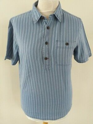 Fat Face Size Medium Blue Stripe Cotton/linen Short Sleeve Tunic Shirt • 3.50£