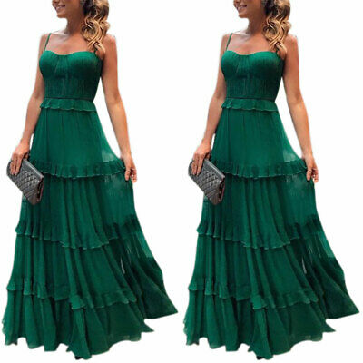 AU37.69 • Buy Women's Sleeveless Strappy Maxi Dress Ladies Evening Party Pleated Long Dresses