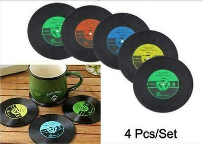 4Pcs Retro Vinyl CD Record Cup Coaster Drink Holder Mat Tableware Placemat • 0.99£