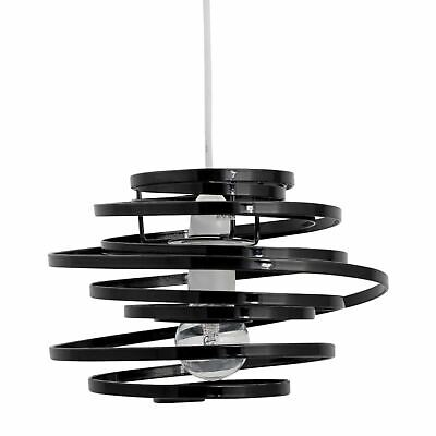 Black Easy Fit Ceiling Light Shade Pendant Shade Modern Metal Swirl Design • 13.99£