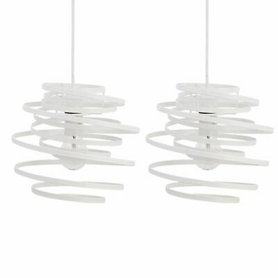 Set Of 2 Modern White Metal Swirl Easy Fit Ceiling Light Shade Pendants • 21.99£