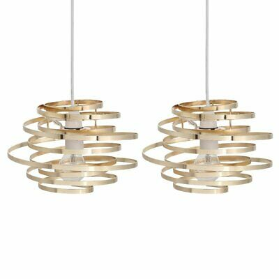 Set Of 2 Modern Gold Metal Swirl Easy Fit Ceiling Light Shade Pendants • 24.99£
