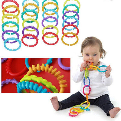 £8.30 • Buy 24X Rainbow Teether Ring Links Plastic Baby Kids Infant Stroller Play Mat Toys-