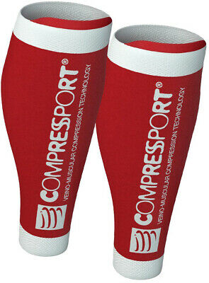 Compressport R2 V2 Compression Calf Guards Red Race Recovery Calf Sleeve Tight • 20.89£