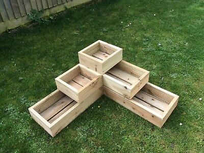 3 Tier Raised Bed Garden Trough Planter Veg  Flower Plant Pots In Decking   • 52£