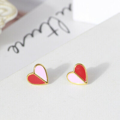 $ CDN21.09 • Buy Kate Spade Pink And Red GOLD Folded Heart Stud Earrings W/ Gift Box