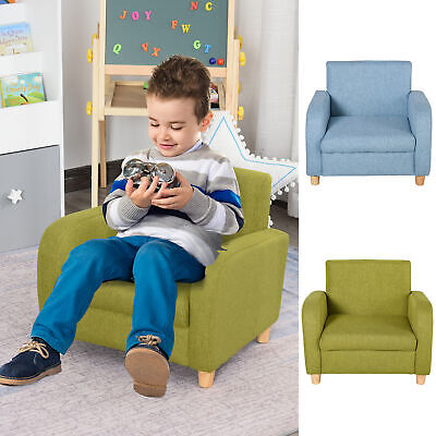 £45.99 • Buy Linen Child Armchair Wood Frame W/ Cushion Padding Seat Low-Rise Bedroom