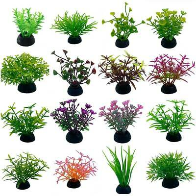 Artificial Fake Plants Fish Tank Aquarium Aquatic Ornament Plastic Flower Grass • 2.69£