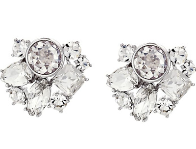 $ CDN52.83 • Buy Kate Spade New York Reflecting Pool Clear Silver-Tone Cluster Stud Earrings