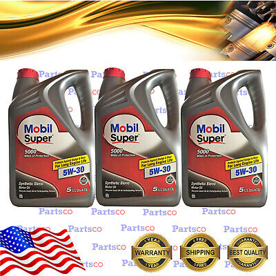 $ CDN112.76 • Buy 5W30 Synthetic Blend Motor Oil 5 Quarts X 3 In A Case Mobil Super