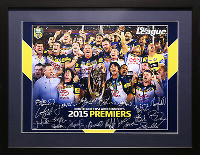 AU89.95 • Buy North Qld Cowboys 2015 Rugby League Premiers Signed Framed Memorabilia Poster
