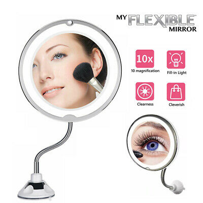 AU15.85 • Buy 10X Magnifying Makeup Mirror With LED Light Cosmetic 360° Rotation Flexible AU