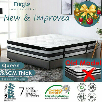 AU329.99 • Buy QUEEN Mattress *7 Zone Pocket Spring Mattress Latex Foam EuroTop *Chiro Endorsed