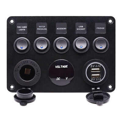 AU31.21 • Buy 12V 5 Gang Switch Panel ON OFF Toggle 4.2A USB Marine RV Truck Camper Waterproof