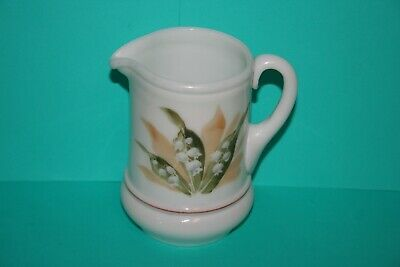 $9.95 • Buy Antique Hand Blown Milk Glass Pitcher Creamer Hand Painted Lily Of The Valley