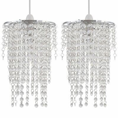 Set Of 2 Clear Acrylic Crystal Waterfall Easy Fit Ceiling Light Shade Pendants • 21.99£