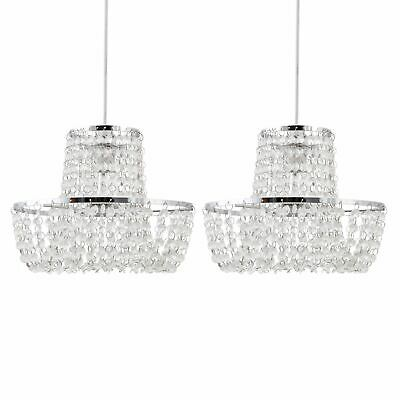 Set Of 2 Chandelier Style Easy Fit Ceiling Light Shade Modern Pendant Shades • 25.99£
