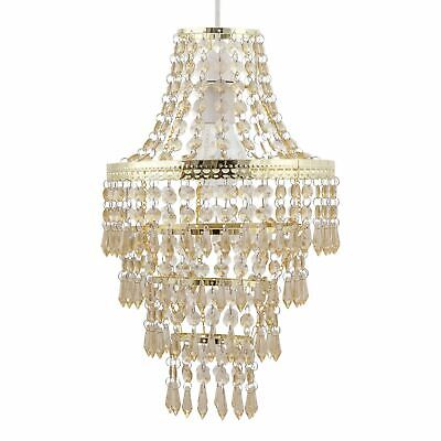 £19.99 • Buy Modern Easy Fit Gold & Amber Acrylic Crystal Chandelier Style Light Shade
