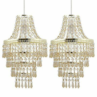 Set Of 2 Gold Chandelier Style Acrylic Crystal Easy Fit Ceiling Light Shades • 34.99£