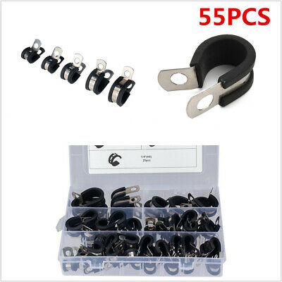 $ CDN26.29 • Buy 55Pcs Stainless Steel Rubber Lined R Style Clamp Waterproof Fit For Car Hose