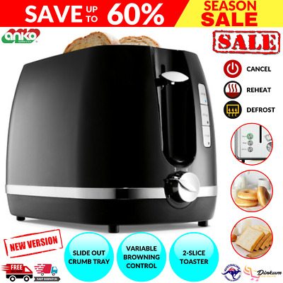 AU26.50 • Buy Toaster 2 Slice Electric Black & Silver With Warming Rack Crumb Tray Toast Slot