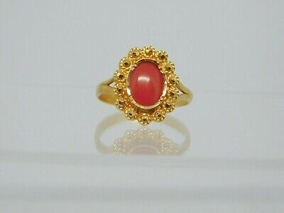 22ct Gold Oval Coral Dress Ring • 295£