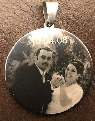 Photo Engraved Pendant 19mm, 25mm, 30mm,35mm • 8£