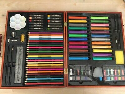 Wooden Art Supply Case / Art Kit - Pencils, Pens, Oil Pastels, Paint • 5£