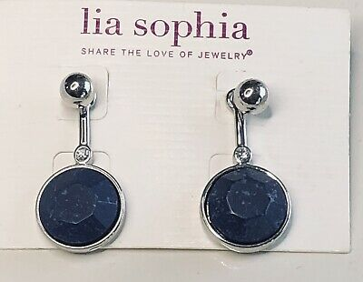 $ CDN25.94 • Buy Lia Sophia Silvertone Drop Earrings Denim Blue Stone And Rhinestone Accents