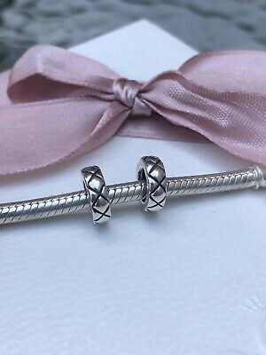 Genuine Pandora Silver Pair Of Heart Cross Cross Spacer Charms - Good Condition • 8.50£