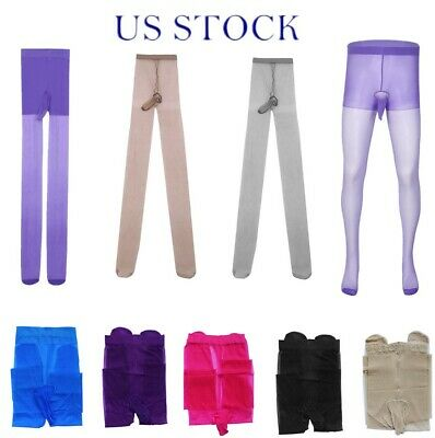 $6.32 • Buy US Mens Sissy Lingeris Tights Footed Stockings Pouch Sheer Pantyhose Underwear