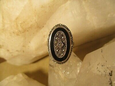 £43.25 • Buy Vintage Victorian/Art Deco Sterling Silver, Onyx, Marcasite Mourning Ring S.6.75