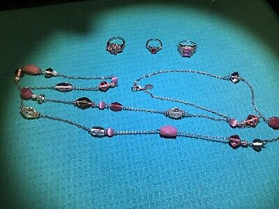 $ CDN25.05 • Buy New Lia Sophia Pink Glass Bead Long 52 Inch Necklace + 3 New Free Rings Size 7-9