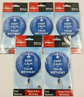 5 X 18   Keep Calm It's Your Happy Birthday Foil Helium Party Balloon Job Lot  • 3.50£