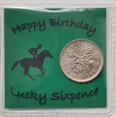 £2.59 • Buy Happy Birthday Horse Racing Lucky Sixpence Gift *Free 1st Class Post*