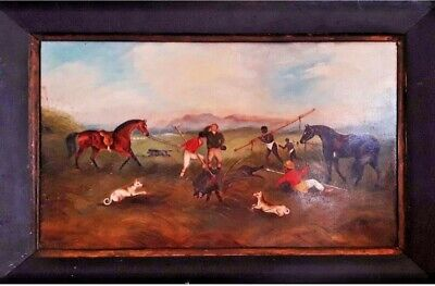 Antique Painting  Of C19 English Wild Boar Hunting Oil Paintings • 325£