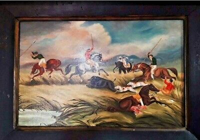 Antique Painting  C19 English Wild Boar Hunting Oil Paintings • 325£